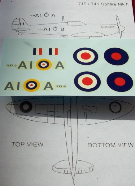 Dinky Toys 719 / 741 Spitfire MkII A1A Transfers and positioning Instructions (Each) TRANSFERS / DECALS